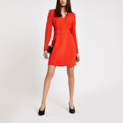 Red Belted Wrap Dress by River Island