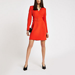 Red belted wrap dress