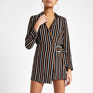 Navy stripe wrap front skort playsuit