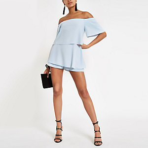 Light blue bardot romper
