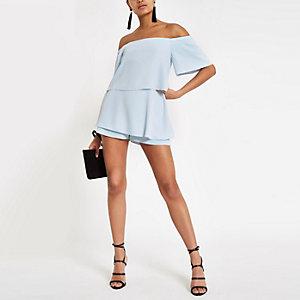 Combi-short Bardot bleu clair