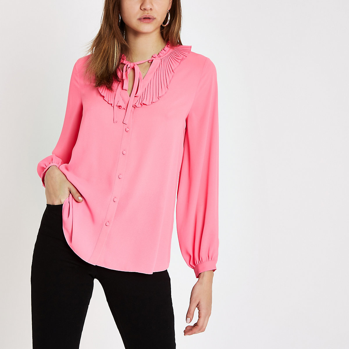 Pink frill tie neck blouse