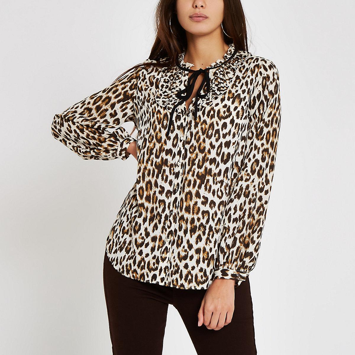 Brown leopard print tie neck blouse