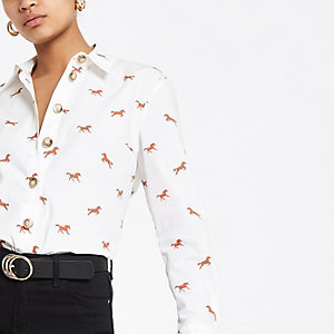 Weißes Popelin-Hemd mit Print