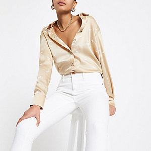 Beige printed satin blouse