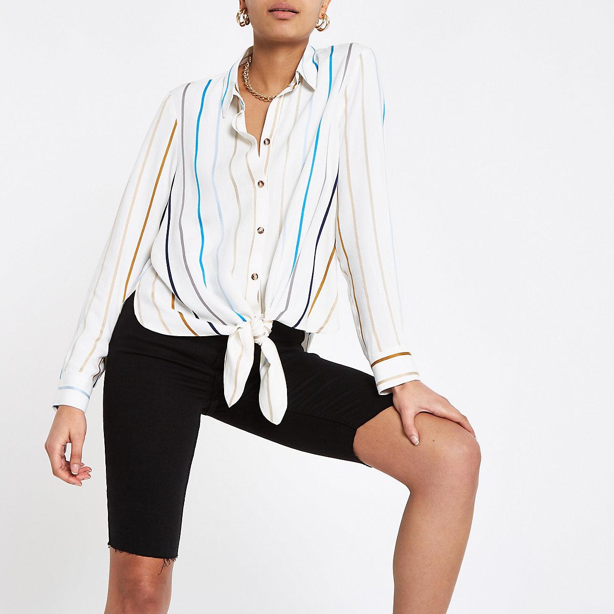 White stripe tie front shirt