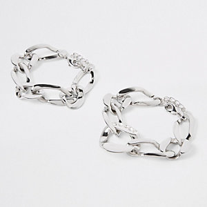 Silver color rhinestone chunky link bracelet