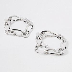 Bracelet argenté à maillons orné de strass