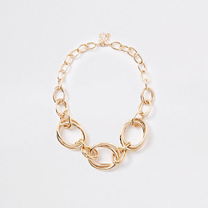 Gold color chunky circle necklace