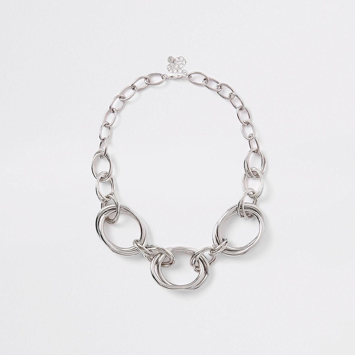 Silver colour chunky circle necklace