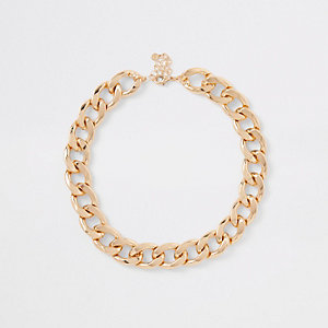 Gold colour chunky curb chain necklace
