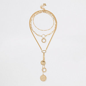 Gold colour chain triple layered necklace