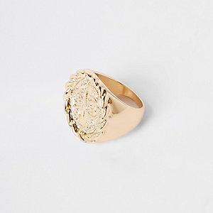 Gold color signet ring