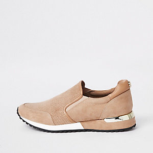 Beige faux suede runner trainers