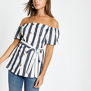 Blue stripe tie waist bardot top