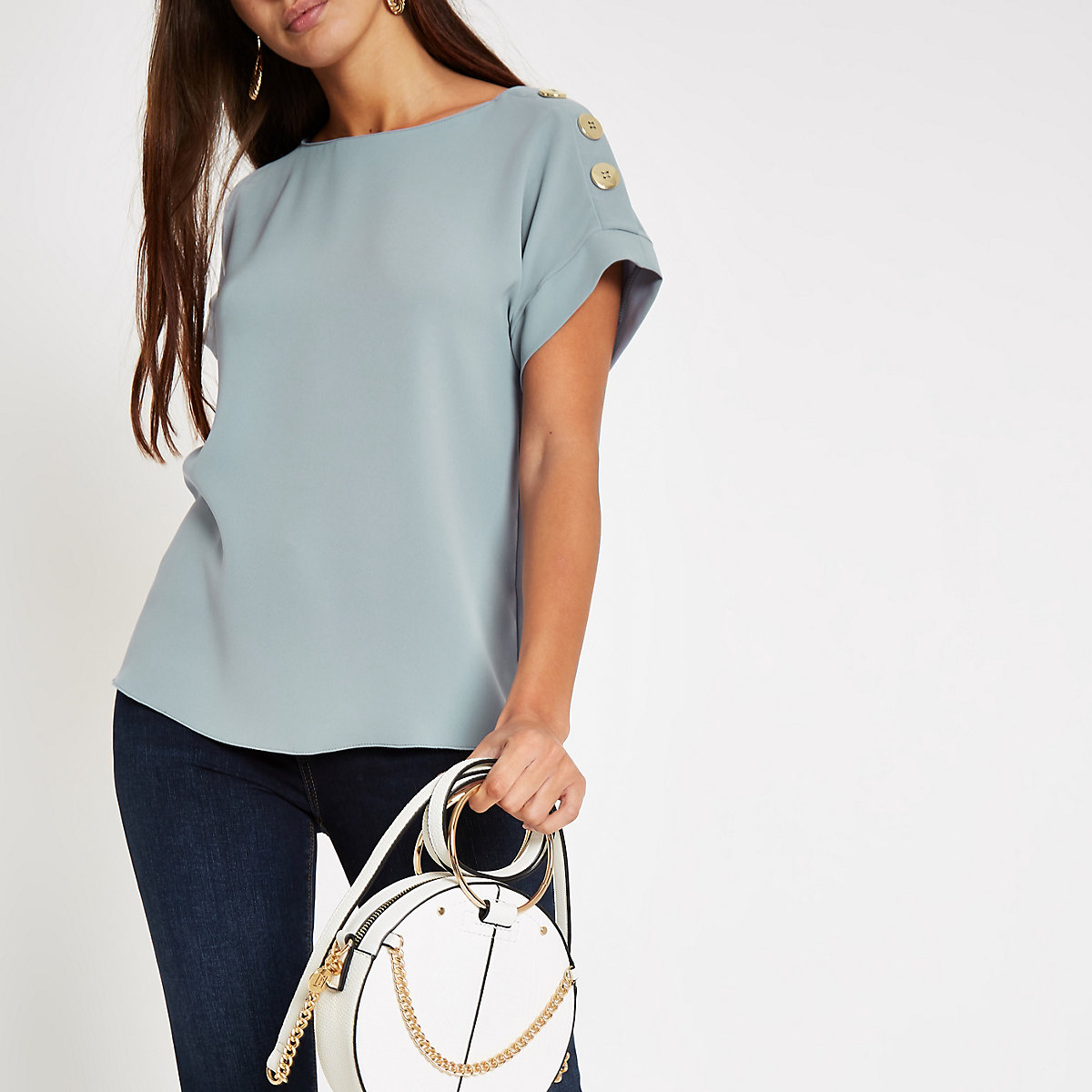 Blue button detail loose fit T-shirt