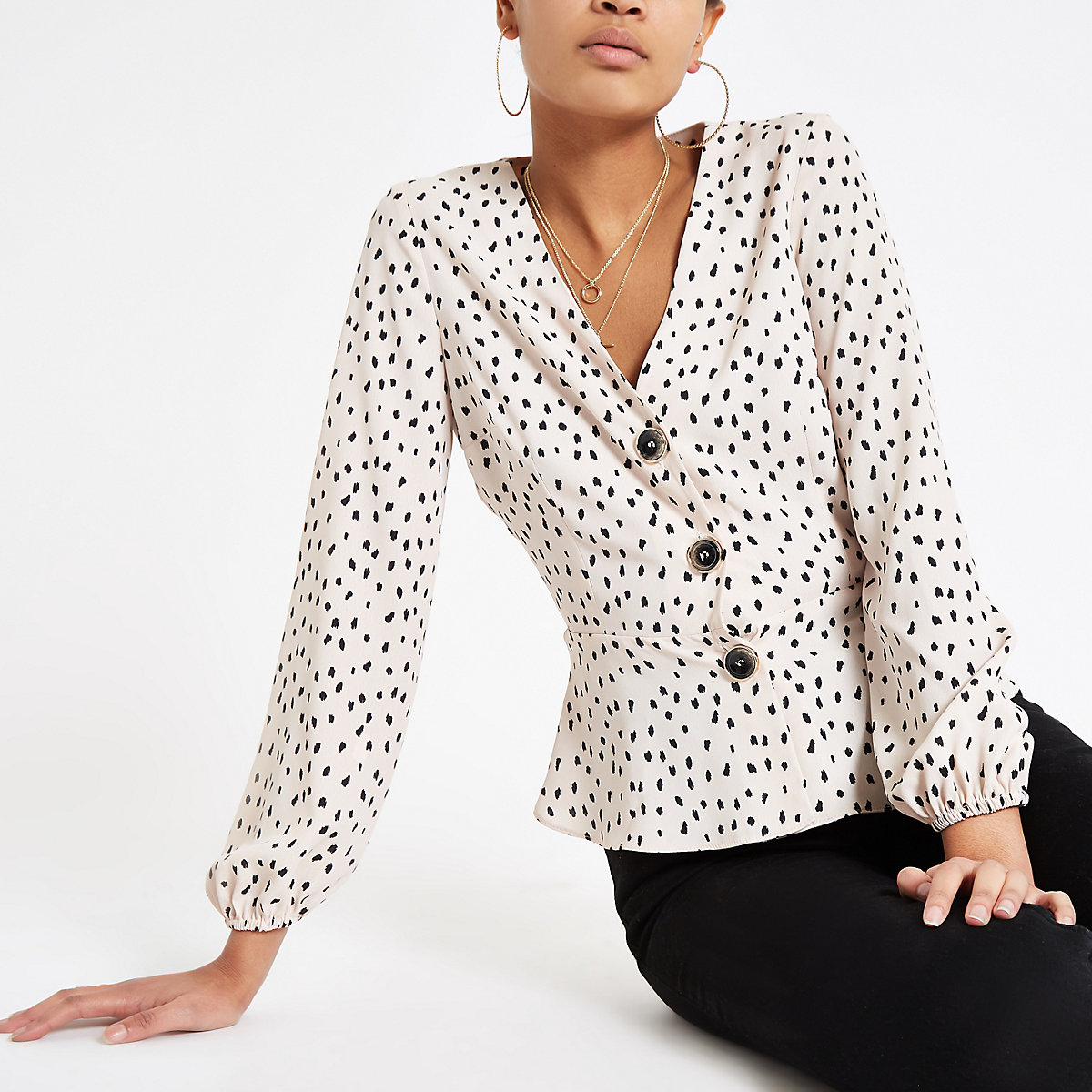 Beige spot long sleeve tea top