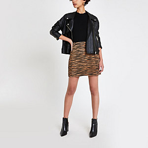 Brown suede tiger print mini skirt