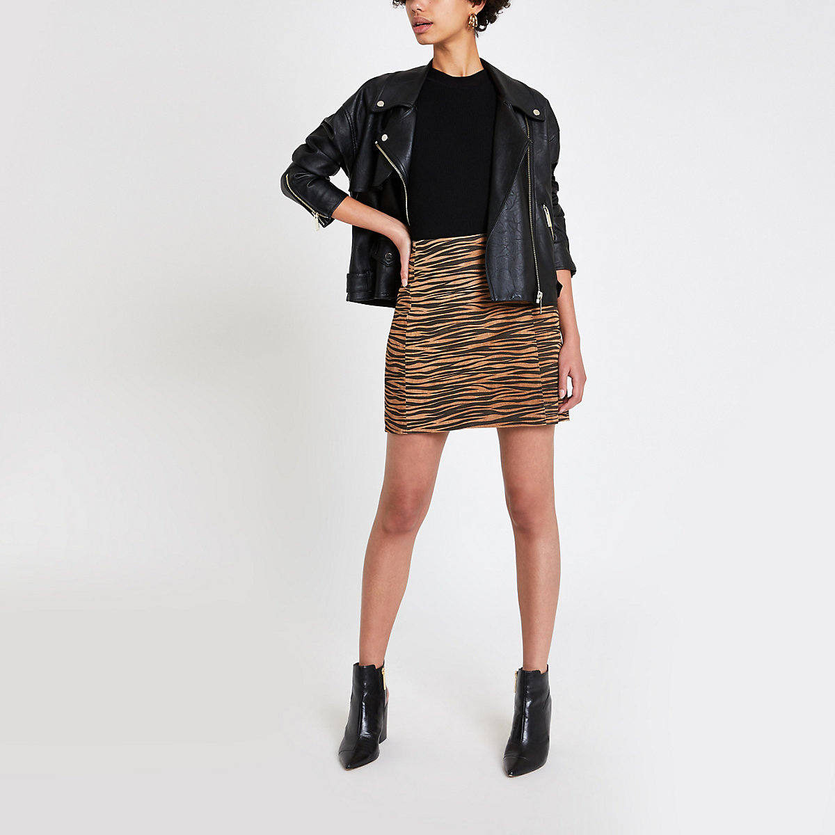 Brown suede tiger print mini skirt
