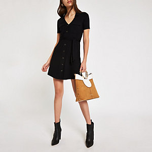 Black ribbed utility shirt dress