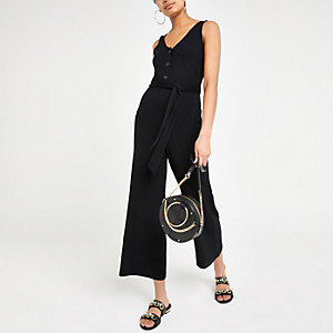 Black ribbed V neck tie waist jumpsuit