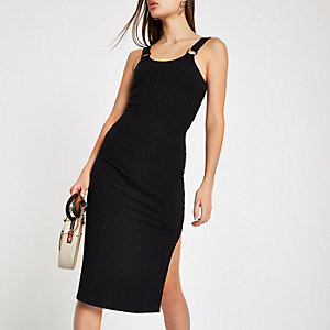 Black ribbed bodycon dress