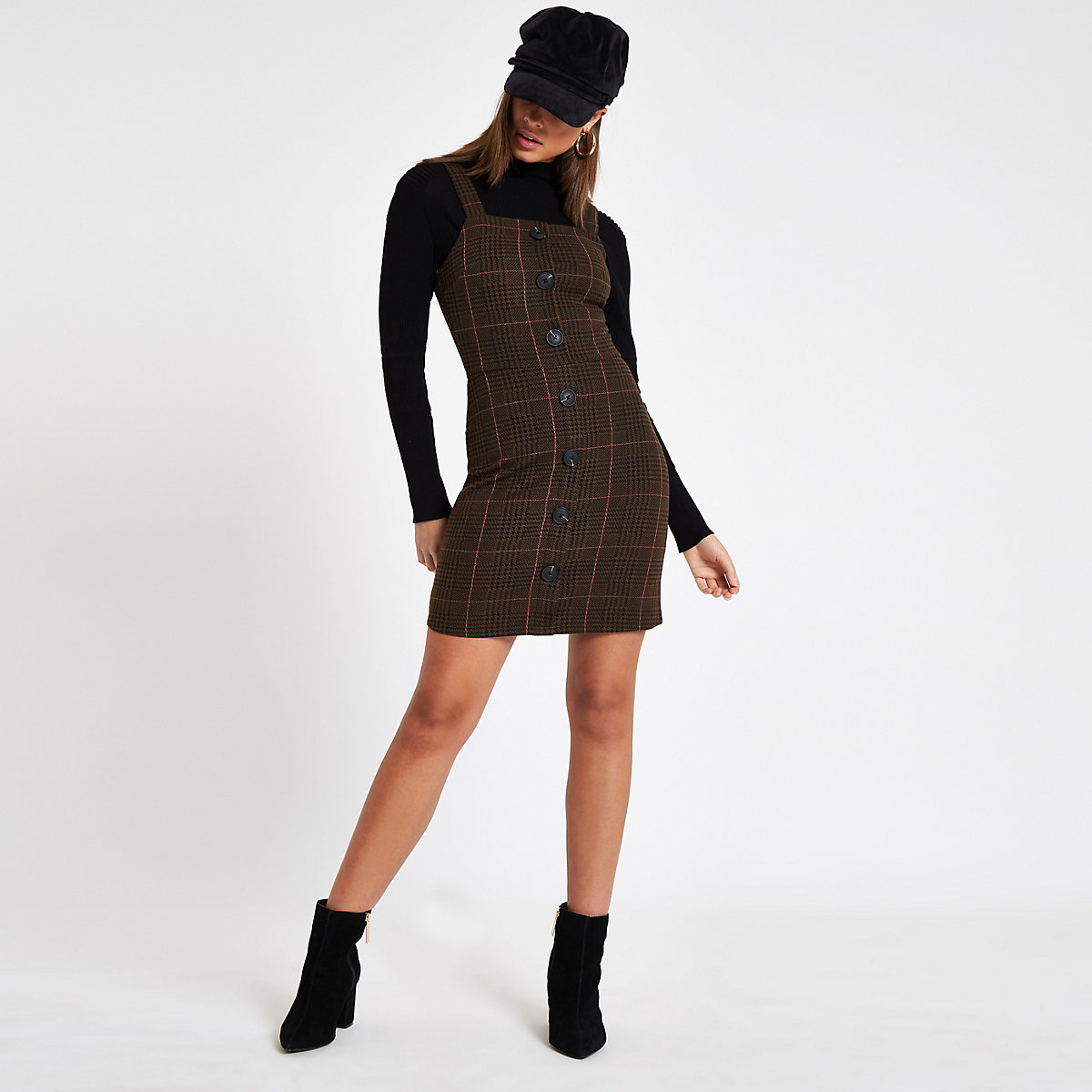 Brown check button front pinafore mini dress