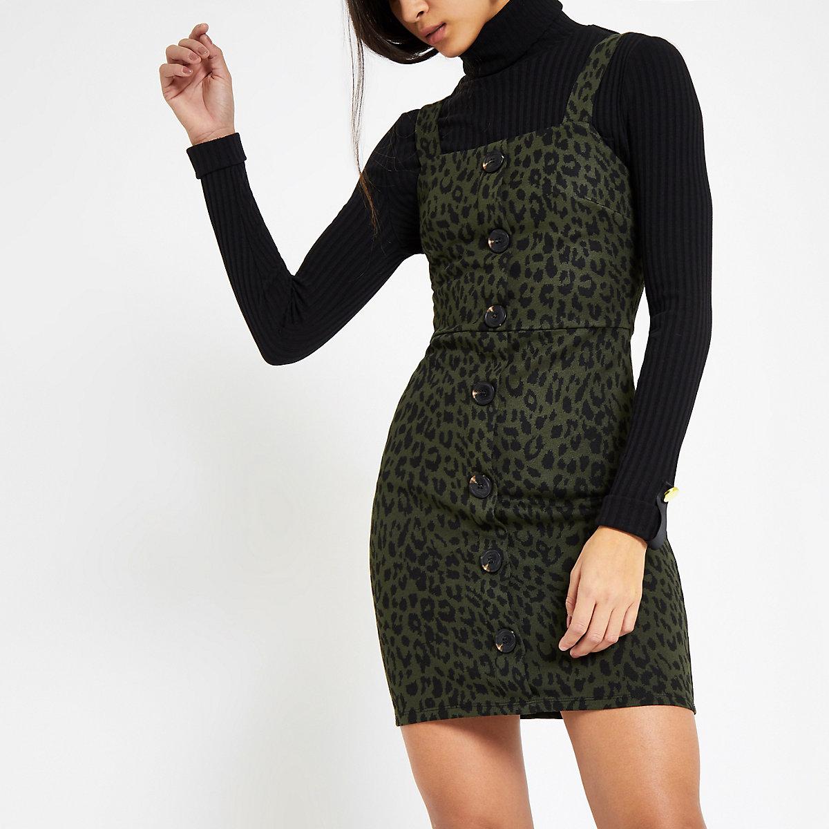 Khaki leopard print pinafore dress