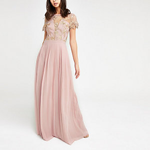 Chi Chi London pink pleated maxi dress