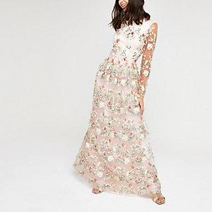 Chi Chi London pink mesh embroidery dress