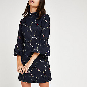 Chi Chi London navy floral embroidered dress