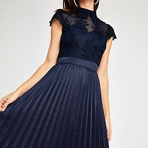 Chi Chi London navy lace pleated prom dress