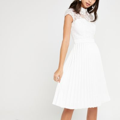 Chi Chi London White Lace Pleated Prom Dress by River Island