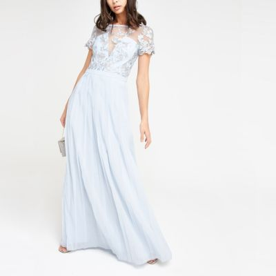 Chi Chi London Light Blue Pleated Maxi Dress by River Island