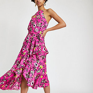 Forever Unique – Robe mi-longue imprimée rose avec lien à nouer