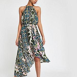 Forever Unique - Groene midi-jurk met slangenprint en strik