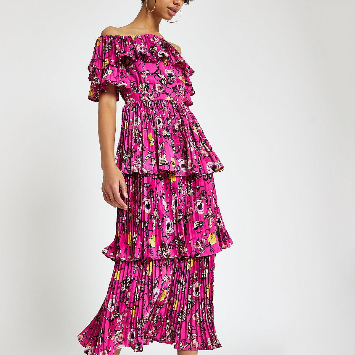Forever Unique pink printed bardot midi dress