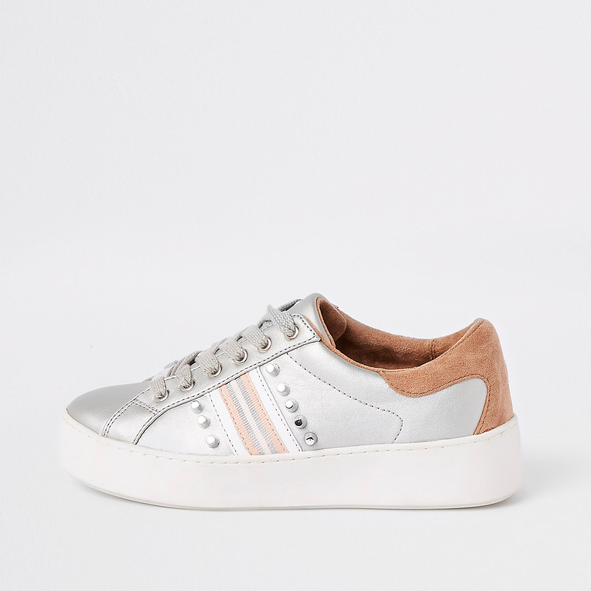 Silver stud embellished lace-up trainers