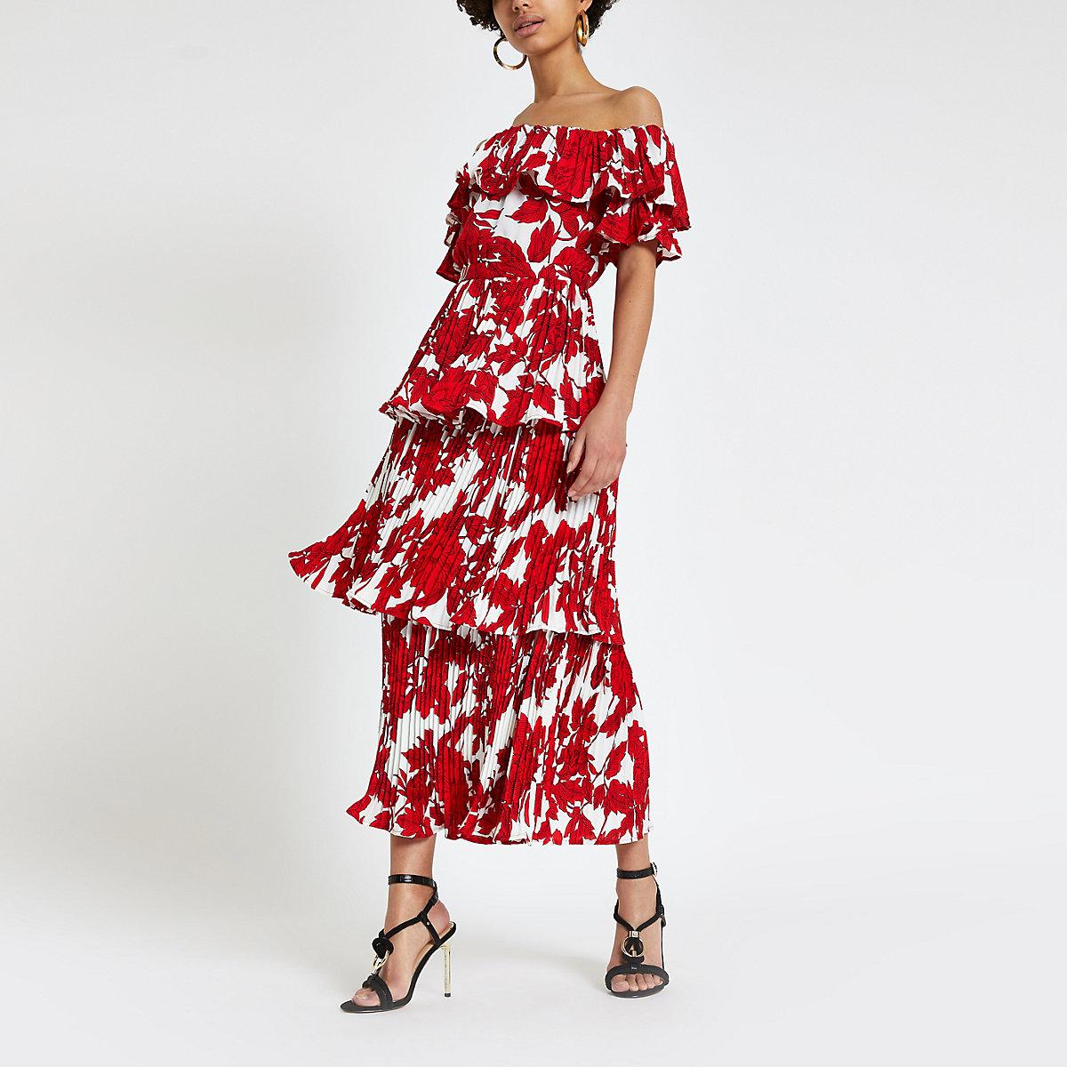 Forever Unique red print bardot midi dress