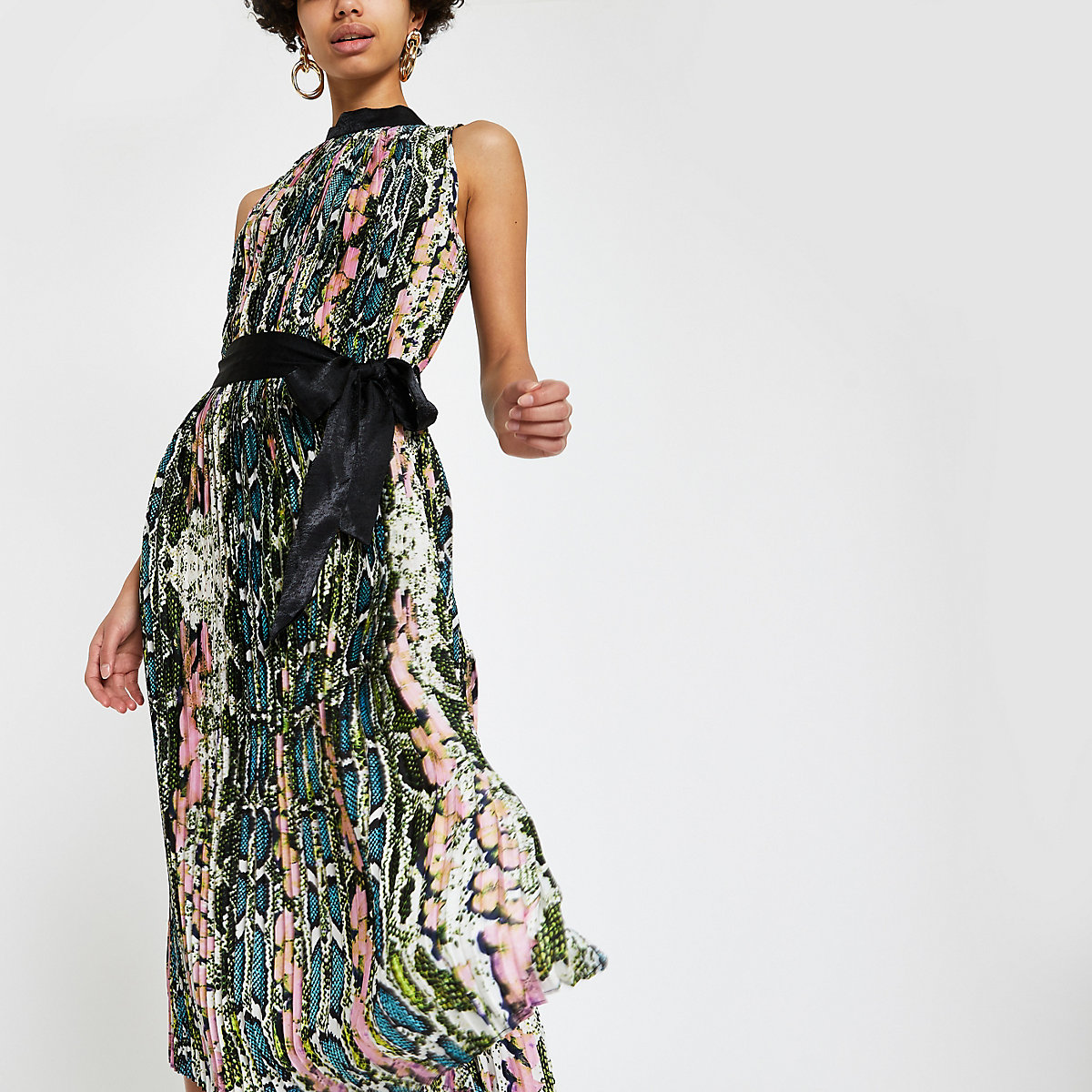 Forever Unique green snake pleated midi dress