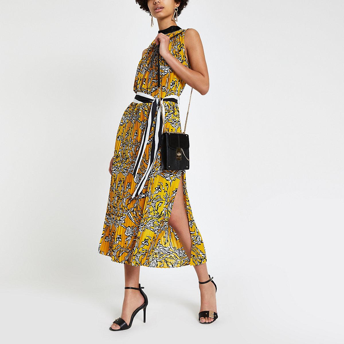 Forever Unique zebra print pleated midi dress