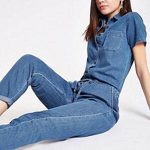 Mittelblauer Jeansoverall