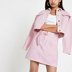Pink utility denim skirt
