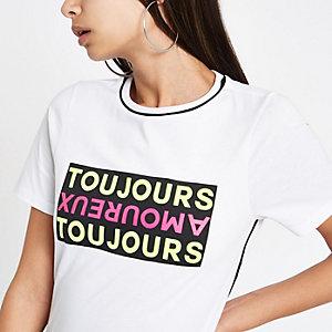"""Weißes, kurzärmliges T-Shirt """"Toujours"""""""
