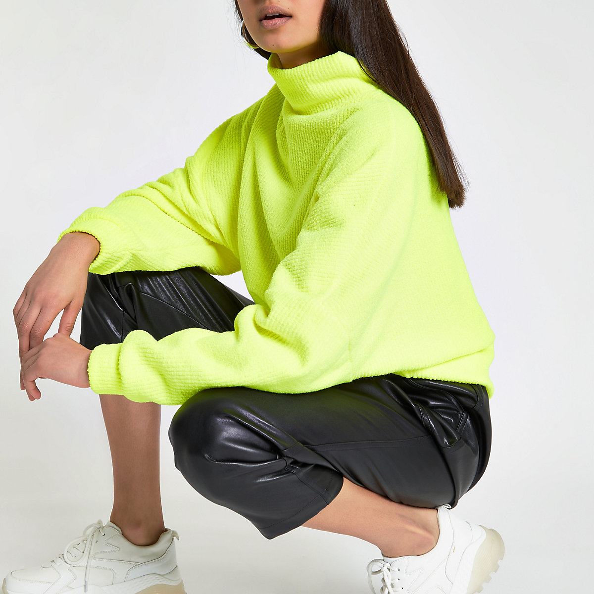Neon yellow high neck batwing sleeve sweater