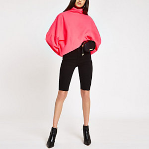 Neon pink high neck batwing sleeve sweater