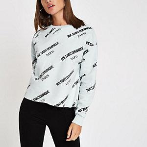 Blauw sweatshirt met 'Rue Dominique'-print