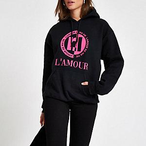 Zwarte RI-hoodie met 'Lamour'-print