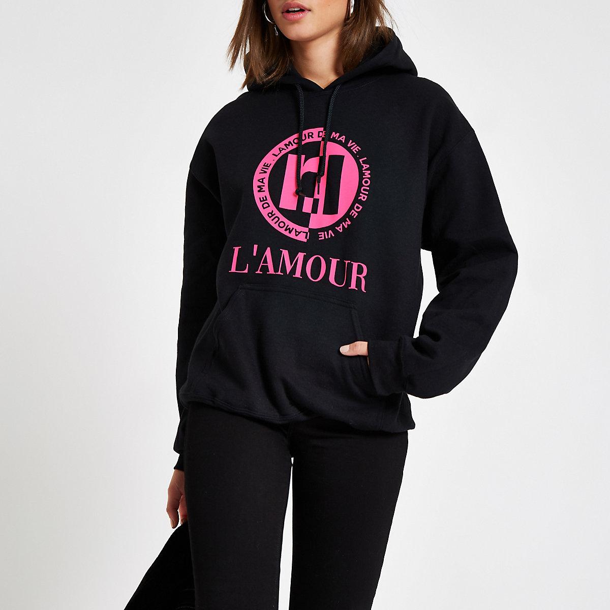 Black RI 'Lamour' print hoodie