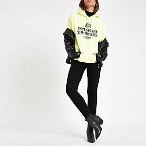 Fluoriserend gele hoodie met gegroepeerde 'Esplorare'-print